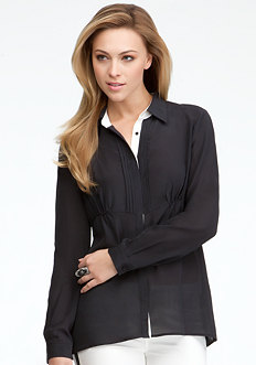 bebe Soft Skirted Long Sleeve Button Down
