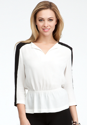 bebe Notch Neck Colorblock Peplum Top