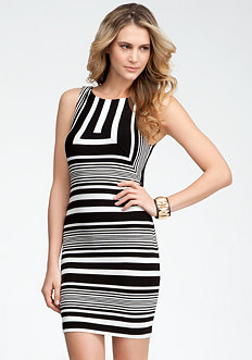 bebe Boatneck Striped Fitted Dress
