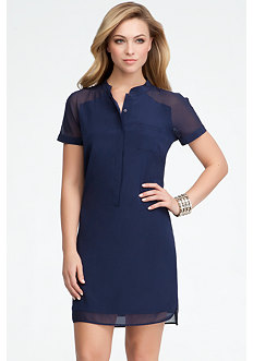bebe Contrast Silk Shirt Dress