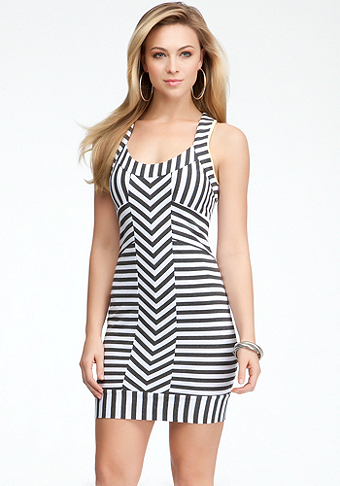bebe Striped Racerback Tank Dress