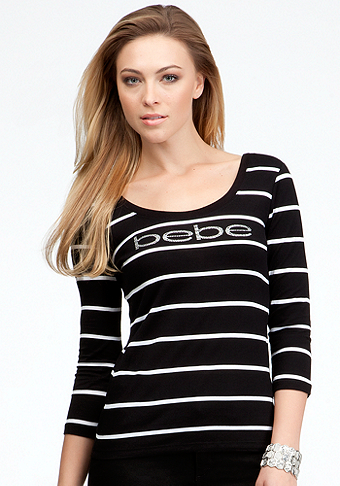 bebe Logo Double Scoop Stripe Tee