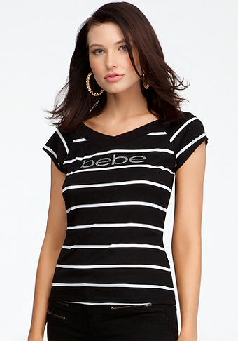 bebe Logo Double V-Neck Stripe Tee
