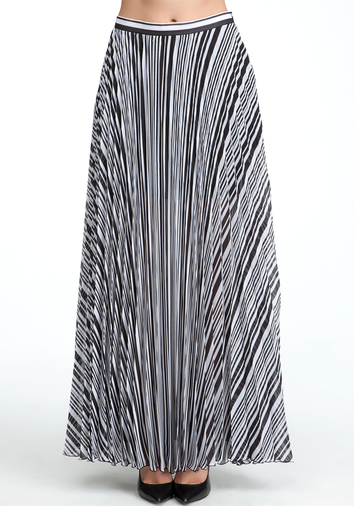 Pleated Pocket Long Skirt - Melek Stripe 1 - S