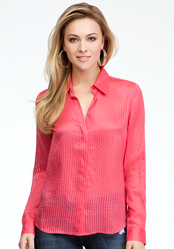 bebe Shadow Stripe Gauze Button Down