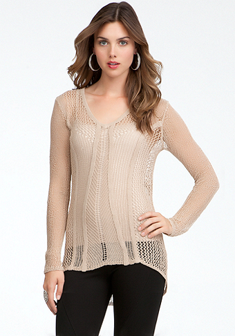 bebe Open Weave Hi-Lo Sweater