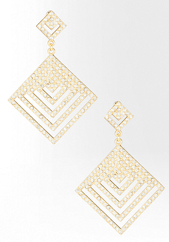 bebe Cutout Geometric Crystal Earring