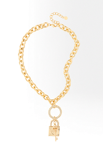 Interlocked Padlock Key Necklace -ONLINE EXCLUSIVE at bebe
