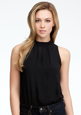 bebe Mock Neck Sleeveless Crepe Bodysuit