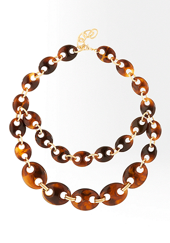 bebe Anchor Link Tortoise Short Necklace