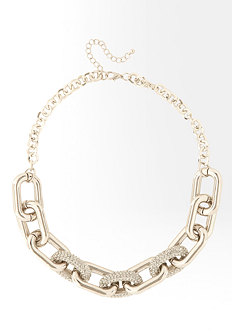 bebe Rectangular Chainlink & Crystal Necklace