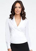 Wrap Collar Poplin Top at bebe