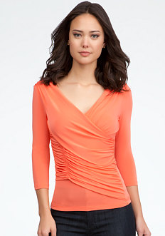 bebe Asymmetric Drape Knit Top