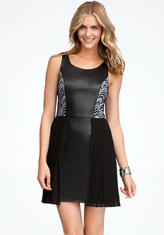 bebe Bonded Lace Leather Pleated Dress