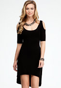 bebe Hi-Lo Cold Shoulder Sweater Dress