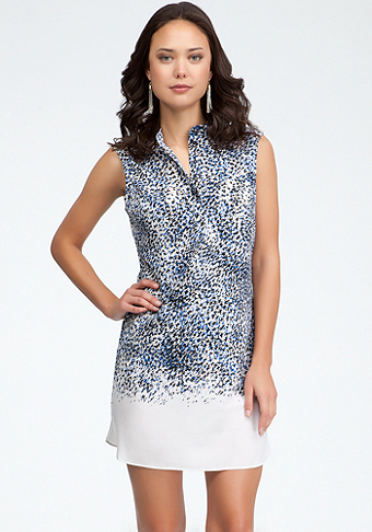 bebe Printed Silk Shirt Dress