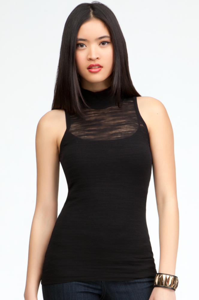 Sleeveless Mock Neck Sweater - Blk - Xs