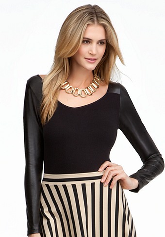 bebe Leatherette Sleeves Bodysuit