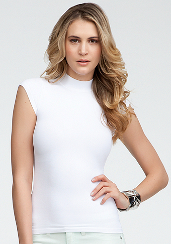 Skinny Rib Turtleneck Top - ONLINE EXCLUSIVE at bebe