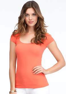 bebe Textured Back Cutout Tee