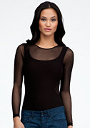bebe Long Sleeve Mesh Inset Bodysuit