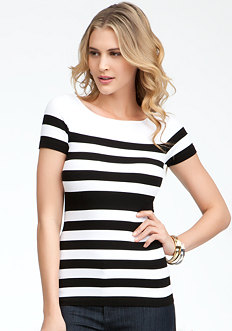 Striped Rib Tee - ONLINE EXCLUSIVE at bebe