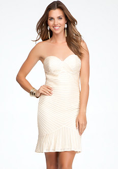 bebe Embellished Binding Bustier Dress