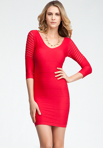 bebe Mesh Sleeve Ottoman Bodycon Dress