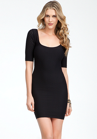 bebe Diamond Back Cutout Texture Dress