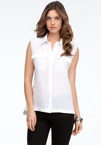 bebe Open Back Safari Button Up Blouse