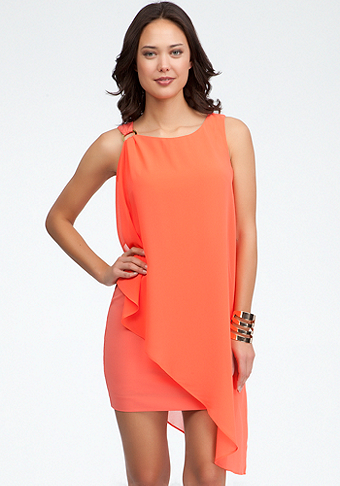 bebe Sleeveless Shoulder Drape Dress