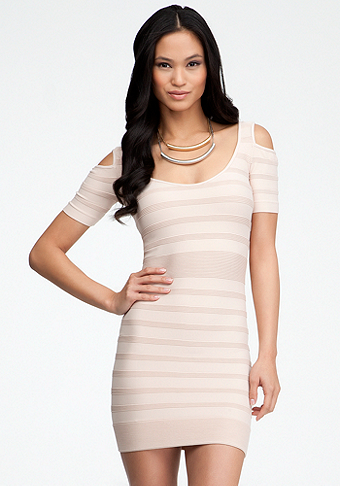 bebe Cold Shoulder Ottoman Stripe Dress