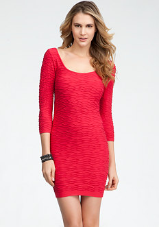bebe Variegated 3/4 Sleeve Wave Dress