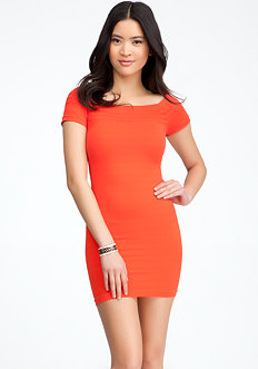 bebe Tonal Stripe Waist Bodycon Dress - ONLINE EXCLUSIVE