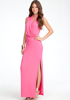 bebe Surplice Sleeveless Maxi Dress