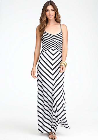 bebe Cross Front Stripe Maxi Dress