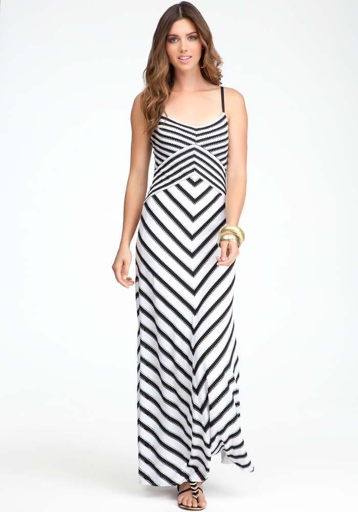 Cross Front Stripe Maxi Dress