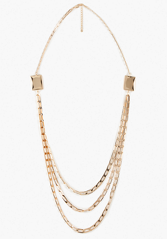 bebe Flat Link Layered Necklace