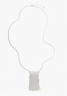 bebe Long Snake Chain Fringe Necklace