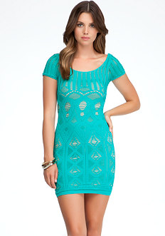 bebe Double Layer Shirt Lace Sleeve Dress