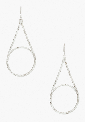 bebe Looped Teardrop Snake Chain Earring