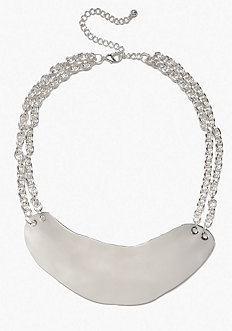 bebe Short Hammered Metal Necklace