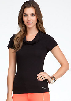 Logo Cowl Neck Tee - ONLINE EXCLUSIVELY at bebe