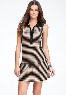 bebe Striped Drop Waist Collar Dress