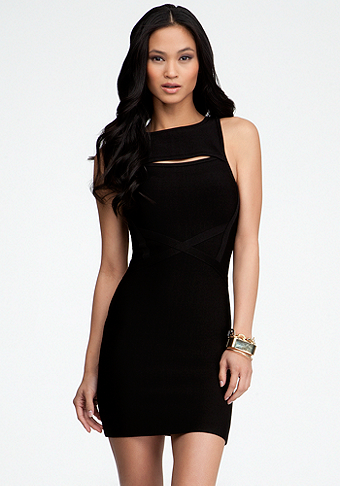 Peek-A-Boo Crew Neck Bandage Dress at bebe