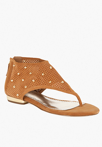bebe Leila Studded Perforated Leather Sandal