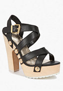 Thalia Leather & Wood Sandal at bebe