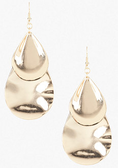 bebe Multi Piece Teardrop Hammered Earring