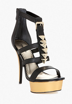 bebe Janelle Chevron Leather Platform Sandal