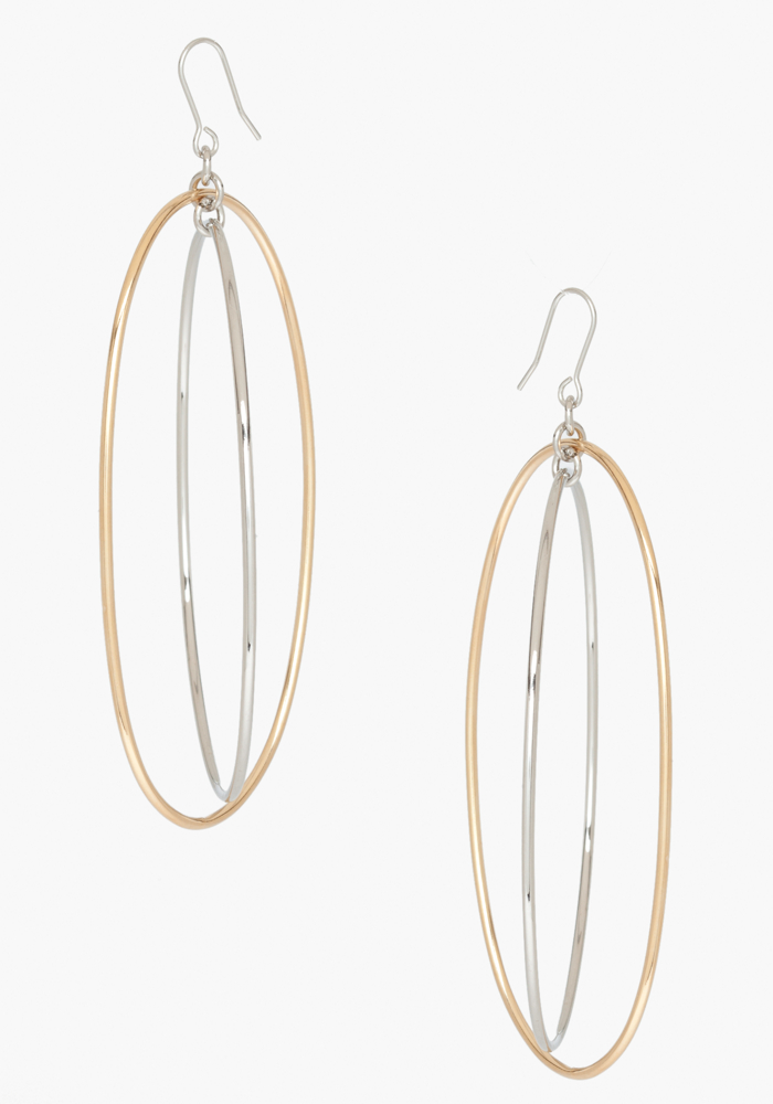 Mixed Metal Hoop Earring - Gold/Silver - 1Sz